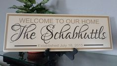 Hey, I found this really awesome Etsy listing at https://www.etsy.com/listing/218651141/personalized-welcome-sign-family-name