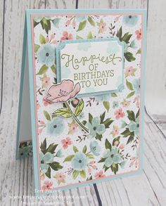 by Teri Pocock: Birthday Blooms, Birthday Bouquet dsp, Tags & Labels framelits - all from Stampin' Up! Handmade Birthday Cards, Happy Birthday Cards, Birthday Bouquet, Stamping Up Cards, Paper Cards, Scrapbook Cards, Scrapbooking, Flower Cards, Homemade Cards