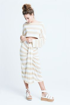 sara bailes x jersey crop top x jersey skirt x camel stripe