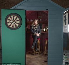 Thinking about building a bar shed in your backyard? Grab a beer and get inspired by our collection of bar sheds found across the world. Backyard Bar, Backyard Sheds, Outdoor Sheds, Garden Sheds, Dart Board On Door, Party Shed, Build Your Own Bar, Shed Of The Year, Shed Makeover