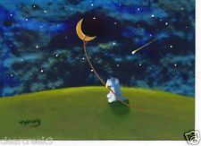 Schnauzer Terrier blue Dog Moon Star Folk Art PRINT Todd Young LASSO THE MOON