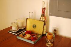 tin box and other household items to burn votives in. | Katie's Cozy Teeny Tiny Boho Studio