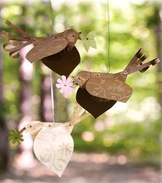 Embossed Paper Birds - cute for spring decor in different colors - instructions