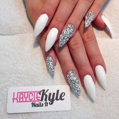 White nails with major bling