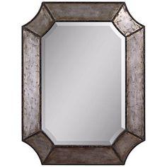 "Uttermost Elliot Burnished Aluminum 32"" High Wall Mirror"