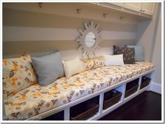 DIY NO SEW bench cushions. I could use this in the mudroom or the living room. Do It Yourself Furniture, Do It Yourself Home, Diy Furniture, Diy Entryway Storage, Bench Storage, Cubby Bench, Staircase Storage, Wall Bench, Corner Bench