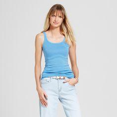 Women's Skinny Stripe Favorite Tank Blue Stripe Xxl - Merona