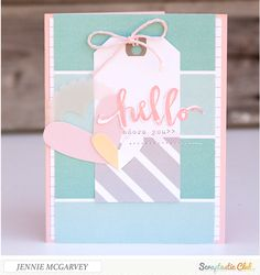 Hello, Adore You - Scrapbook.com - Lovely soft colors and vellum on this pretty Hello Card.