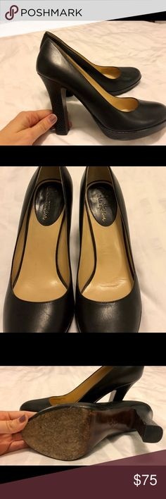 """Beautiful black Cole Haan 4.5"""" platform heels I absolutely love these shoes, but I've only worn them about 8 times. I just can't walk in them because I never wear heels, but they have a platform so they are more comfortable than most. Great quality. Cole Haan Shoes Heels"""