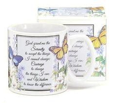 Inspirational Serenity Prayer Mug With Butterfly Design Inexpensive Gift: Christmas Gifts Butterfly Gifts, Butterfly Design, Monarch Butterfly, Best Mothers Day Gifts, Serenity Prayer, Tea Gifts, Inexpensive Gift, Christmas Gifts For Her, Pen Sets