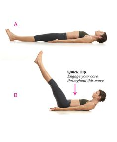 Tighten the lower ab region with leg raises.