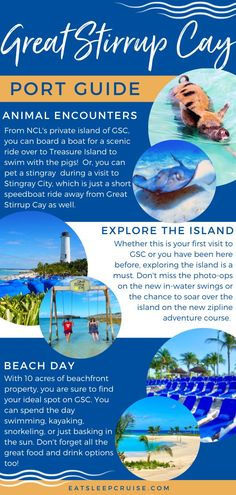 Are you dreaming of a Bahamas cruise? If you book with Norwegian Cruise Line, you'll likely stop at their private island, Great Stirrup Cay. Besides the beautiful Bahamas beaches, NCL has so many things to do in port, it can be hard to decide to make the best use of your time. From swimming with pigs to exploring the island, and so much more! Here we share the top 10 things to do in Great Stirrup Cay Bahamas. Check out this post and you'll be ready to make the most of your visit. Bermuda Vacations, Bahamas Vacation, Bahamas Cruise, Cruise Port, Cruise Vacation, Cruise Excursions, Cruise Destinations, Great Stirrup Cay Bahamas, Cruise Checklist