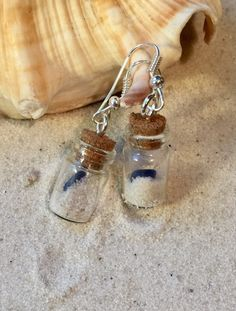 Sea Glass Sand Filled in Tiny Glass Vial Earrings, Mermaid Jewelry Present for Ladies who love the beach life, Fun Ocean Bottle Earrings
