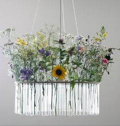 This flower chandelier is made from test tubes : TreeHugger