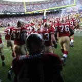 Here are the 49ers football players coming out of the locker room