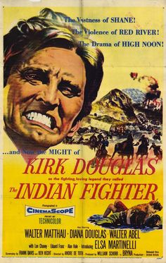 """Oregon connection  Set in Oregon and filmed near Bend in 1955.    About this movie (by Hal Erickson, Rovi)  """"The Indian Fighter is trail guide Kirk Douglas, who agrees to shepherd a wagon train through Sioux territory."""