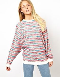 ASOS Jumper in Multi Colour Texture with Batwing