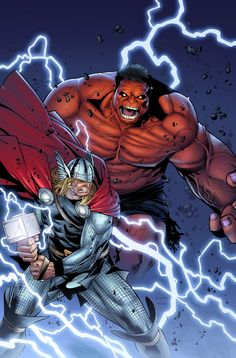Thor vs Red Hulk by Olivier Coipel