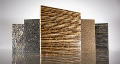 Tiikeri™ is made from reclaimed sorghum stalks. It is made from approximately 50% reclaimed material and has no added formaldehyde. Tiikeri has a natural, organic appearance.  Suitable for Furniture, Tabletops, Countertops, Vanities, Wall Paneling and Flooring.