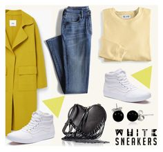 """""""Bright White Sneakers"""" by aria-star ❤ liked on Polyvore featuring Vans, MANGO, Bling Jewelry, Lands' End, Blair, Rebecca Minkoff, StreetStyle, fashionset and whitesneakers"""