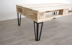 Pied type hairpin legs pour table basse en acier brut ou peinture noire, idéal pour création de table basse en palette par exemple. Fabriqué en France.