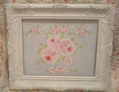 beach cottage shabby frame rose ribbon painting cottage hand painted blue hp