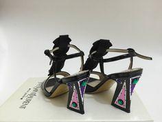 Yves Saint Laurent Patent Leather and Jewel 'Monaco' T- Strap sandals