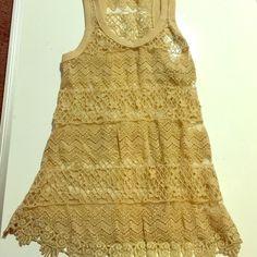 Crochet lace razorback beige tank top New with tags crochet lace tank top No brand Tops Tank Tops