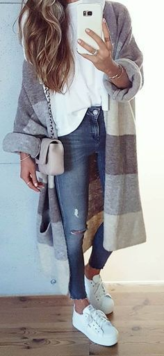 what to wear with a cashmere cardi : white top + bag + rips + sneakers
