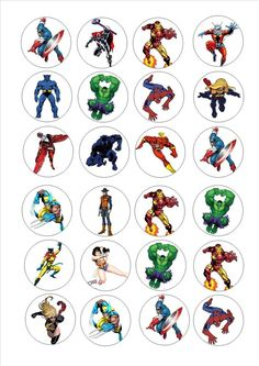 24 icing cake toppers decorations Avengers marvel super hero heros mixed