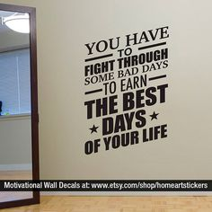 Gym Wall Decal Exercise Stickers Workout by homeartstickers Workout Room Home, Workout Rooms, Gym Quotes Inspirational, Motivational, Wall Stickers, Wall Decals, Home Gym Decor, Sports Decals, Basement Gym
