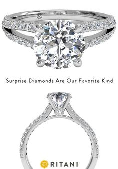 Round French Set Diamond 'V' Band Engagement Ring with Surprise Diamonds, in White Gold by Ritani