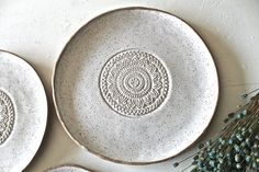 Hand formed Stoneware Dinnerware Plates set of hand painted in a Speckled White Glossy glaze. The outside of these plates are left unglazed. Each plate is unique and has a organic shape from the hand building process. The set includes: 1 Dinner plate : 10 Pottery Plates, Slab Pottery, Ceramic Plates, Ceramic Pottery, Ceramic Art, Decorative Plates, Pottery Shop, Pottery Supplies, Stoneware Dinnerware
