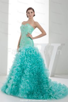 Sleeveless Cyan Strapless Apple Military Ball Special Occasion ...