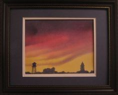 Watercolor - Old Noblesville, Indiana, landmarks and sunset.