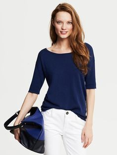 Draped Elbow-Sleeve Pullover Product Image