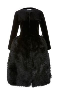 Oscar De La Renta  Long Sleeve Fur Dress