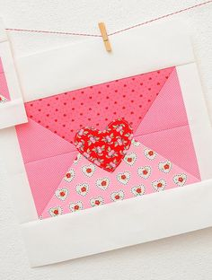 New Valentine's Day quilt patterns available! The love note quilt block is one of 6 designs that are perfect to include into quilt projects for your loved ones! Embroidery Flowers Pattern, Simple Embroidery, Embroidery Patterns Free, Heart Quilt Pattern, Quilt Block Patterns, Pattern Blocks, Quilting Projects, Quilting Designs, Diy Craft Projects