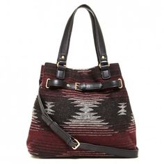 Tribal-printed tote with a removable shoulder strap