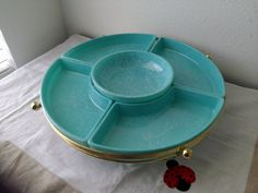 Mid century turquoise serving bowls/ tray set by FusionaryVintage, $55.00