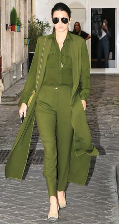 7 Times Kendall Jenner Mastered Monochromatic Looks Like a Pro - In Army Green Pieces  - from InStyle.com