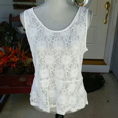 Beautiful lace tank Romy size L shirt. Has a side zipper with button closure on back.  Excellent condition. Romy Tops Camisoles
