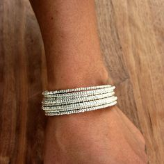Memory Wire Bracelet Bright Silver Beaded by studioRenee on Etsy, $19.00