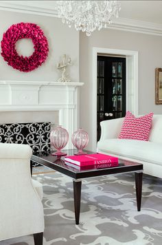 Benjamin Moore Revere Pewter at 50% strength. Love the hot pink, black, white and gray colour palette. Super glam feeling living room