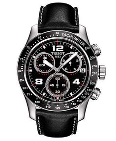 Tissot Watch, Men's Swiss Chronograph V-8 Black Leather Strap 43mm T0394171605702
