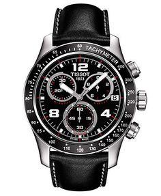Tissot Watch, Men's Swiss Chronograph V-8 Black Leather Strap 43mm T0394171605702