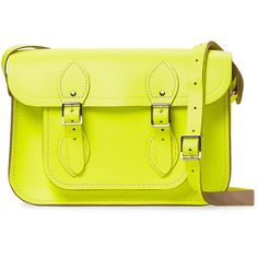 """The Cambridge Satchel Company Women's Small Leather 11"""" Satchel -... (£69) ❤ liked on Polyvore featuring bags, handbags, yellow, leather purse, real leather purses, yellow leather handbag, satchel handbags and leather flap purse"""