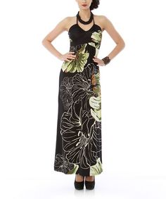 Take a look at this Olive Floral Halter Maxi Dress by Classique on #zulily today!