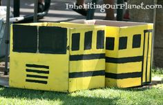 Recycled Box Photo Booth and pretend bus