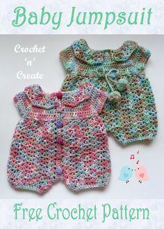 Crochet Baby Dress Free Pattern, Crochet Romper, Crochet Bebe, Baby Girl Crochet, Crochet Doll Clothes, Free Crochet, Crochet Baby Stuff, Crochet Baby Dresses, Knit Crochet